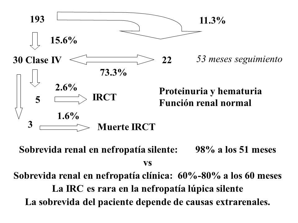 Sobrevida renal en nefropatía silente: 98% a los 51 meses vs Sobrevida renal en nefropatía clínica: 60%-80% a los 60 meses La IRC es rara en la nefropatía lúpica silente La sobrevida del paciente depende de causas extrarenales.