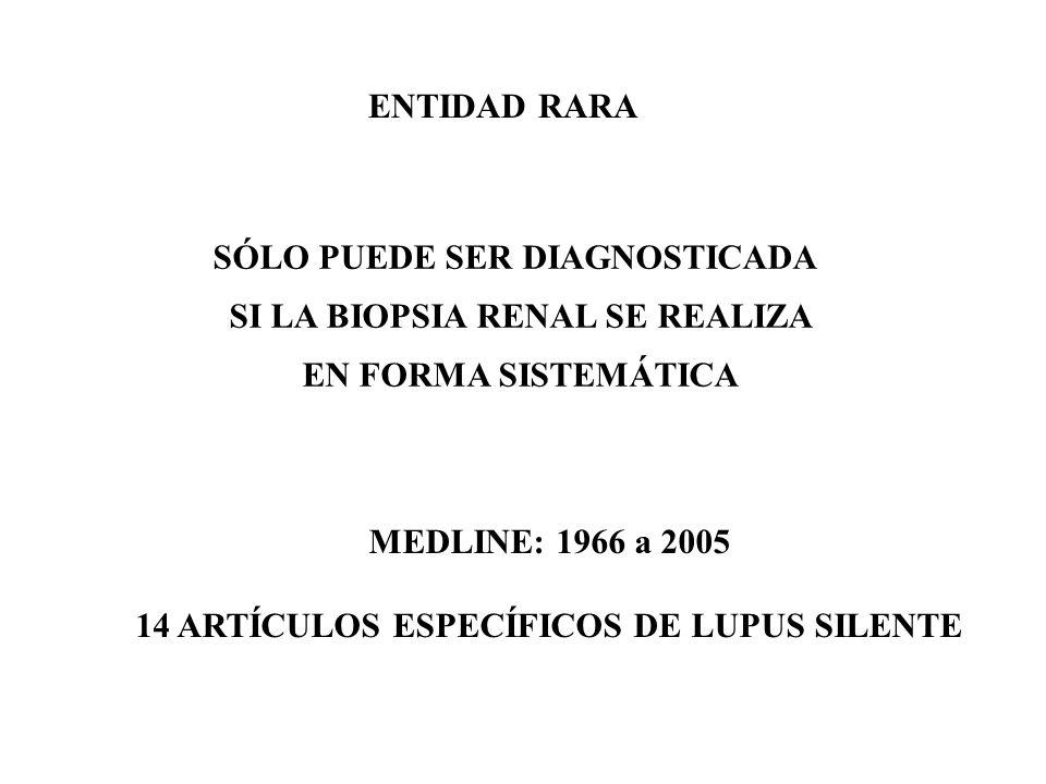 ENTIDAD RARA SÓLO PUEDE SER DIAGNOSTICADA SI LA BIOPSIA RENAL SE REALIZA EN FORMA SISTEMÁTICA MEDLINE: 1966 a 2005 14 ARTÍCULOS ESPECÍFICOS DE LUPUS SILENTE
