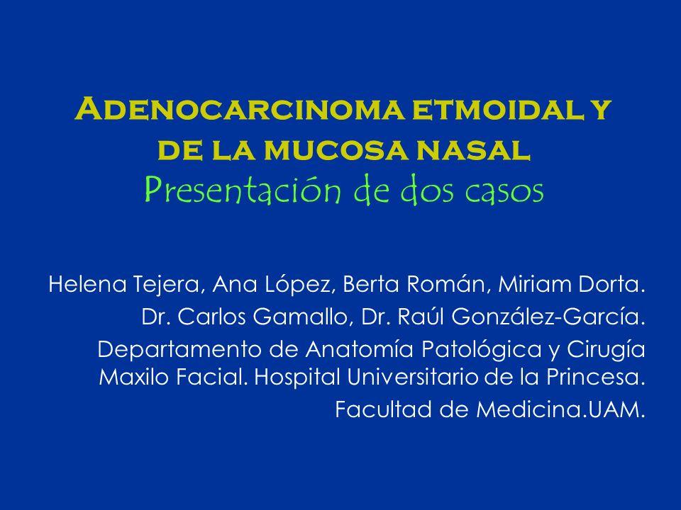 Adenocarcinoma etmoidal y de la mucosa nasal Presentación de dos casos Helena Tejera, Ana López, Berta Román, Miriam Dorta. Dr. Carlos Gamallo, Dr. Ra