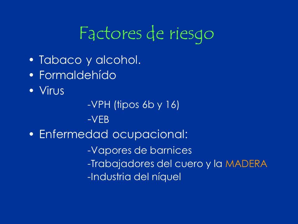 Factores de riesgo Tabaco y alcohol. Formaldehído Virus -VPH (tipos 6b y 16) - VEB Enfermedad ocupacional: -Vapores de barnices -Trabajadores del cuer