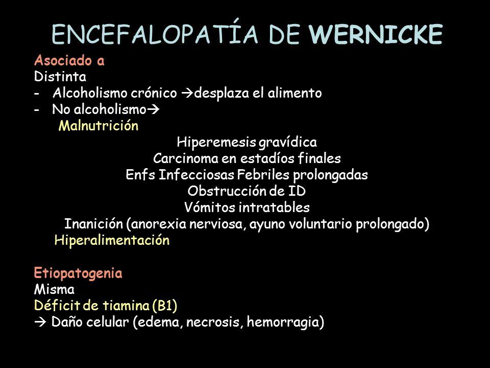 Asociado a Distinta -Alcoholismo crónico desplaza el alimento -No alcoholismo Malnutrición Hiperemesis gravídica Carcinoma en estadíos finales Enfs In