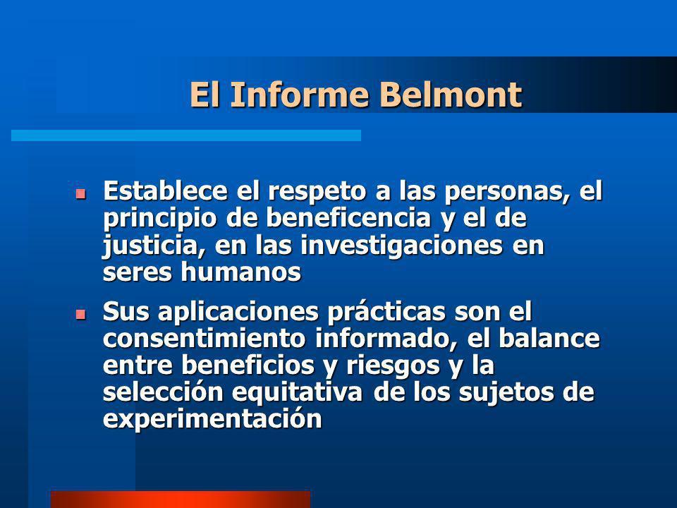 Establece el respeto a las personas, el principio de beneficencia y el de justicia, en las investigaciones en seres humanos Establece el respeto a las