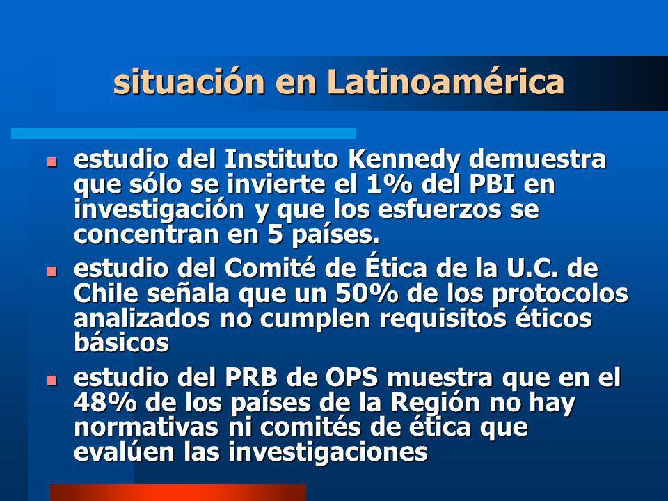 situación en Latinoamérica estudio del Instituto Kennedy demuestra que sólo se invierte el 1% del PBI en investigación y que los esfuerzos se concentran en 5 países.