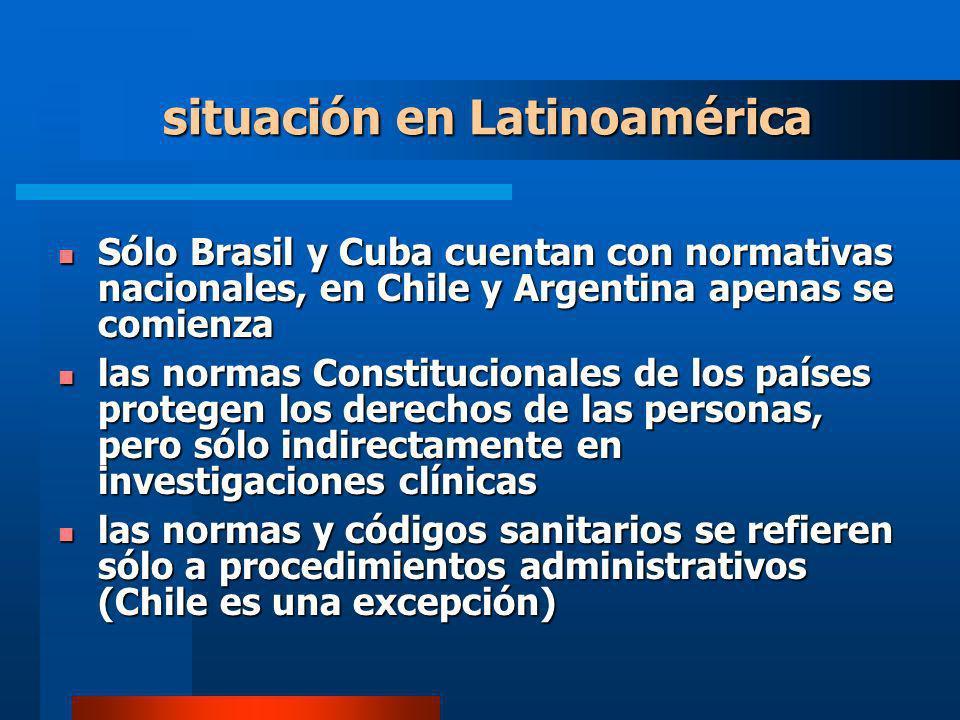 situación en Latinoamérica Sólo Brasil y Cuba cuentan con normativas nacionales, en Chile y Argentina apenas se comienza Sólo Brasil y Cuba cuentan co
