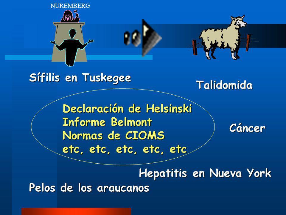 Sífilis en Tuskegee Declaración de Helsinski Informe Belmont Normas de CIOMS etc, etc, etc, etc, etc Hepatitis en Nueva York Talidomida Pelos de los a