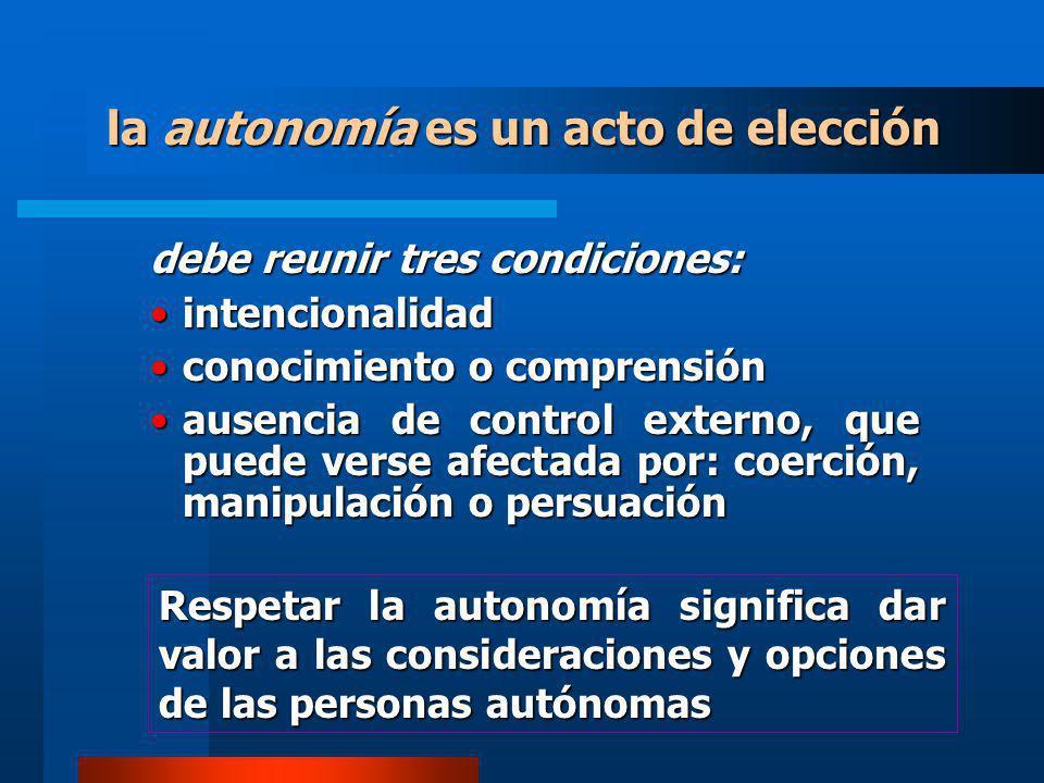 la autonomía es un acto de elección debe reunir tres condiciones: intencionalidadintencionalidad conocimiento o comprensiónconocimiento o comprensión