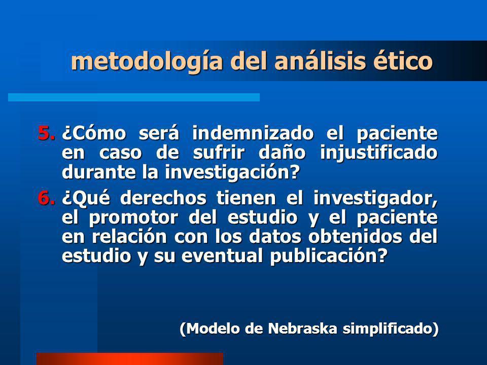 5.¿Cómo será indemnizado el paciente en caso de sufrir daño injustificado durante la investigación? 6.¿Qué derechos tienen el investigador, el promoto