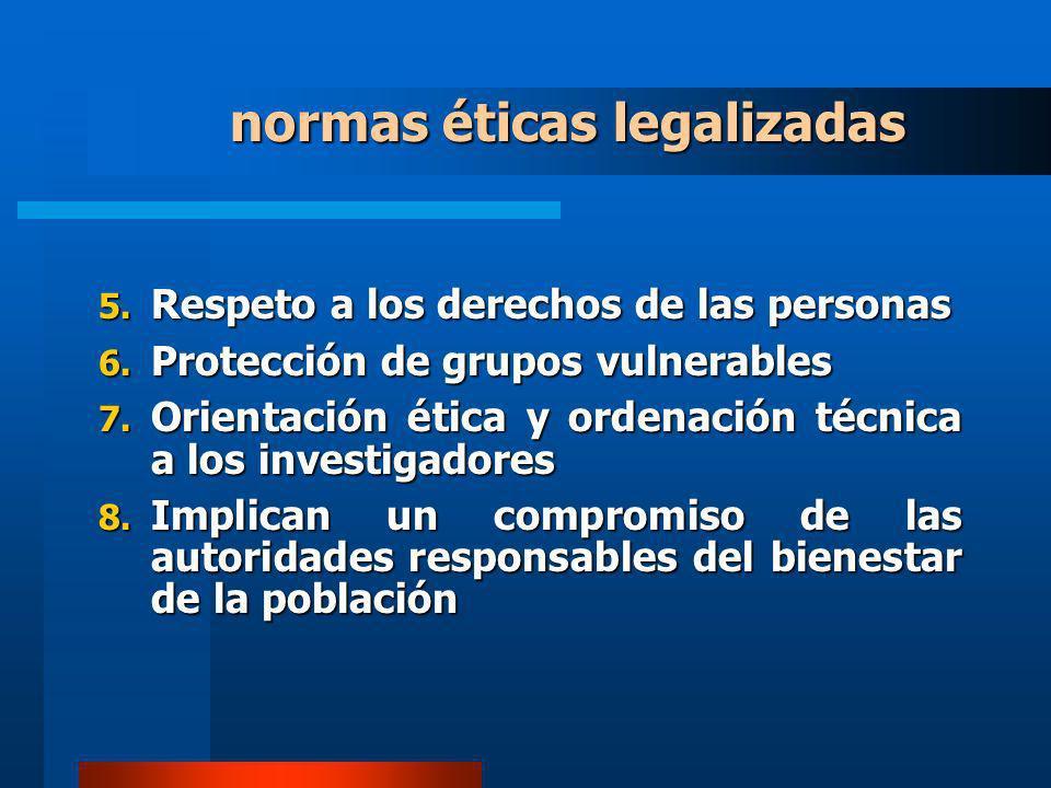 normas éticas legalizadas 5. Respeto a los derechos de las personas 6. Protección de grupos vulnerables 7. Orientación ética y ordenación técnica a lo