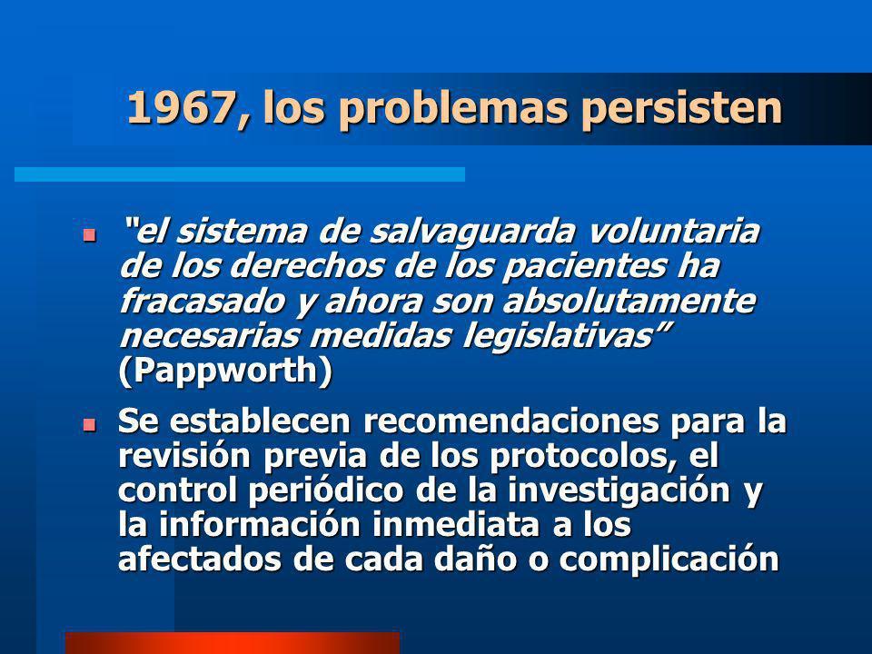 el sistema de salvaguarda voluntaria de los derechos de los pacientes ha fracasado y ahora son absolutamente necesarias medidas legislativas (Pappworth) el sistema de salvaguarda voluntaria de los derechos de los pacientes ha fracasado y ahora son absolutamente necesarias medidas legislativas (Pappworth) Se establecen recomendaciones para la revisión previa de los protocolos, el control periódico de la investigación y la información inmediata a los afectados de cada daño o complicación Se establecen recomendaciones para la revisión previa de los protocolos, el control periódico de la investigación y la información inmediata a los afectados de cada daño o complicación 1967, los problemas persisten
