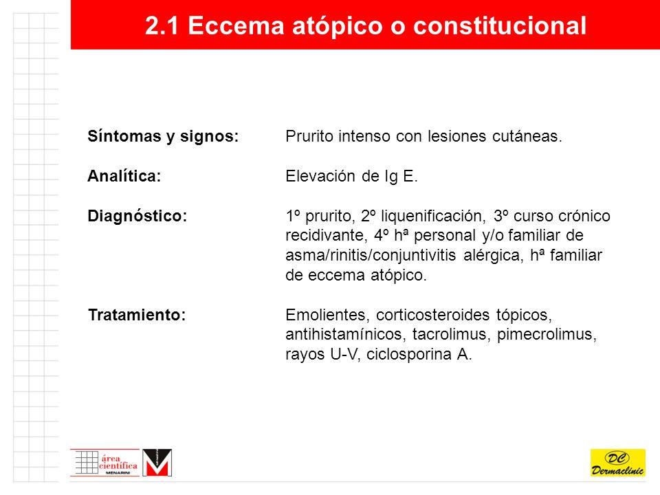 2.1 Eccema atópico o constitucional Eccema atópico (adulto)