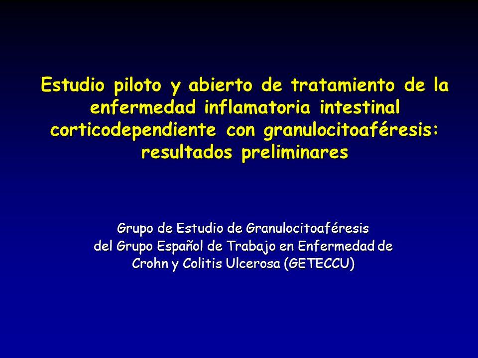 Estudio piloto y abierto de tratamiento de la enfermedad inflamatoria intestinal corticodependiente con granulocitoaféresis: resultados preliminares G
