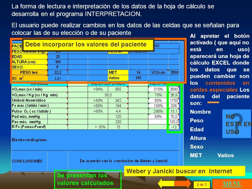 La forma de lectura e interpretación de los datos de la hoja de cálculo se desarrolla en el programa INTERPRETACION.