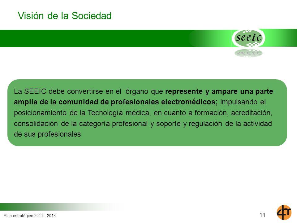 Plan estratégico 2011 - 2013 La SEEIC debe convertirse en el órgano que represente y ampare una parte amplia de la comunidad de profesionales electrom