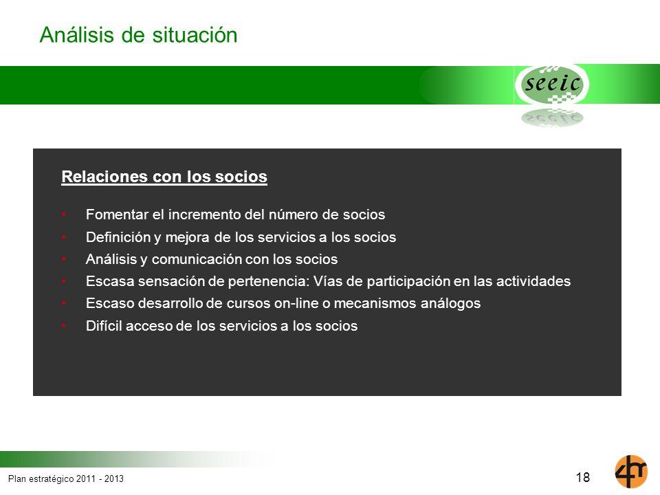 Plan estratégico 2011 - 2013 18 Análisis de situación Relaciones con los socios Fomentar el incremento del número de socios Definición y mejora de los