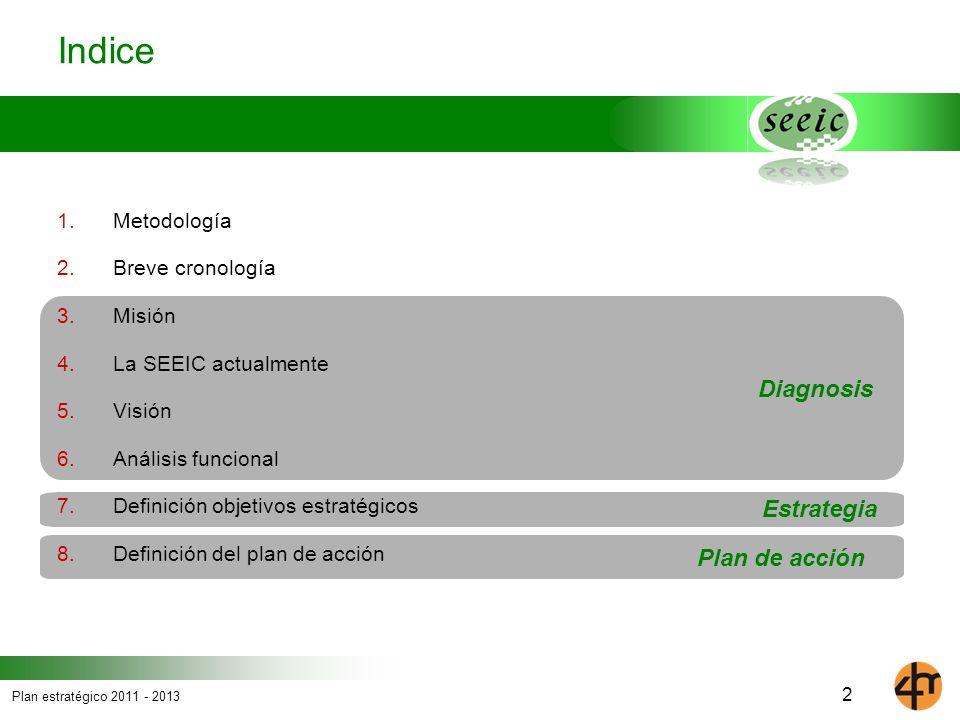 Plan estratégico 2011 - 2013 Plan de acción Estrategia Diagnosis Indice 1. Metodología 2. Breve cronología 3. Misión 4. La SEEIC actualmente 5. Visión