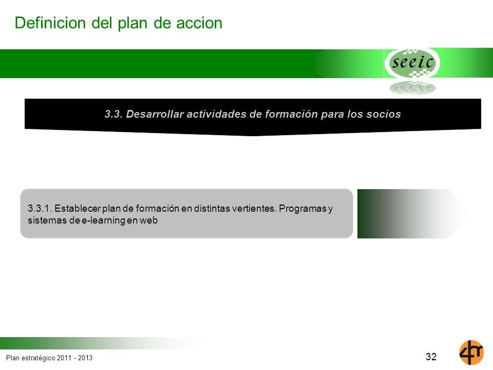 Plan estratégico 2011 - 2013 Definicion del plan de accion 3.3.1. Establecer plan de formación en distintas vertientes. Programas y sistemas de e-lear