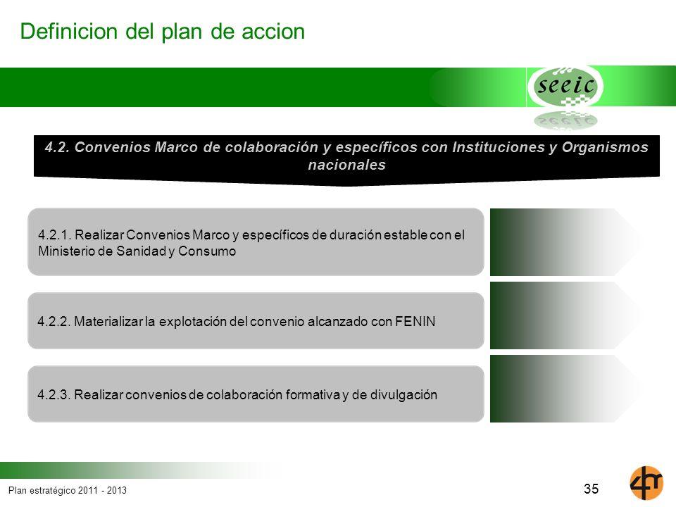 Plan estratégico 2011 - 2013 Definicion del plan de accion 4.2.1. Realizar Convenios Marco y específicos de duración estable con el Ministerio de Sani