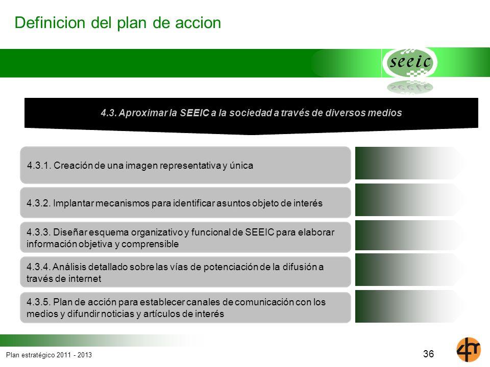 Plan estratégico 2011 - 2013 Definicion del plan de accion 4.3.1. Creación de una imagen representativa y única 4.3. Aproximar la SEEIC a la sociedad