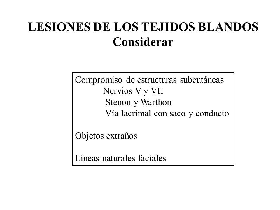 Compromiso de estructuras subcutáneas Nervios V y VII Stenon y Warthon Vía lacrimal con saco y conducto Objetos extraños Líneas naturales faciales LESIONES DE LOS TEJIDOS BLANDOS Considerar