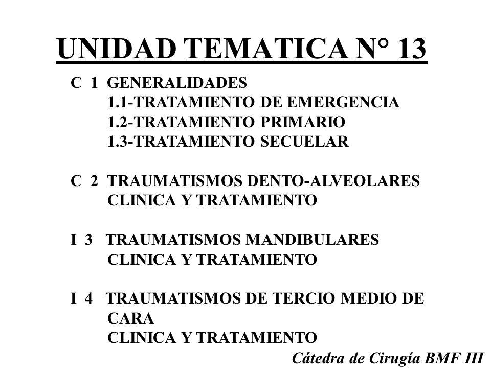 UNIDAD TEMATICA N° 13 C 1 GENERALIDADES 1.1-TRATAMIENTO DE EMERGENCIA 1.2-TRATAMIENTO PRIMARIO 1.3-TRATAMIENTO SECUELAR C 2 TRAUMATISMOS DENTO-ALVEOLARES CLINICA Y TRATAMIENTO I 3 TRAUMATISMOS MANDIBULARES CLINICA Y TRATAMIENTO I 4 TRAUMATISMOS DE TERCIO MEDIO DE CARA CLINICA Y TRATAMIENTO Cátedra de Cirugía BMF III