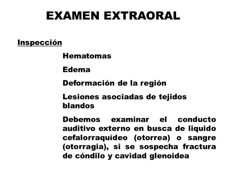 Inspección Hematomas Edema Deformación de la región Lesiones asociadas de tejidos blandos Debemos examinar el conducto auditivo externo en busca de liquido cefalorraquídeo (otorrea) o sangre (otorragia), si se sospecha fractura de cóndilo y cavidad glenoidea EXAMEN EXTRAORAL