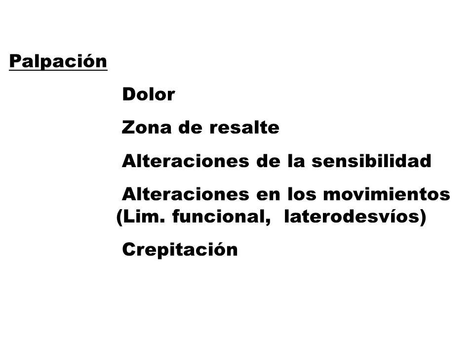 Palpación Dolor Zona de resalte Alteraciones de la sensibilidad Alteraciones en los movimientos (Lim.