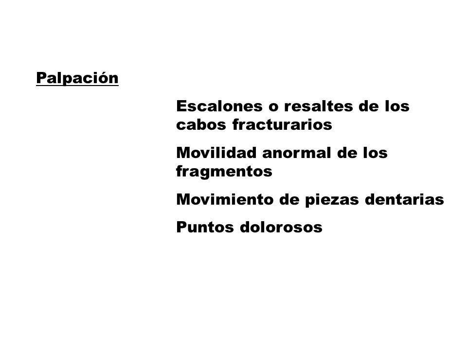 Palpación Escalones o resaltes de los cabos fracturarios Movilidad anormal de los fragmentos Movimiento de piezas dentarias Puntos dolorosos