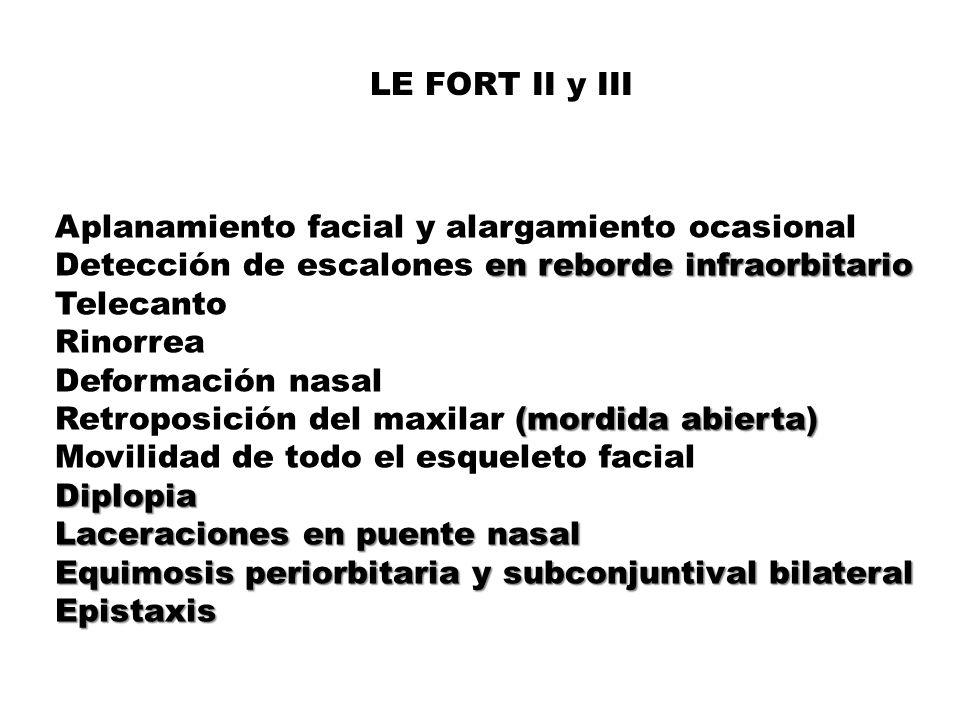 LE FORT II y III Aplanamiento facial y alargamiento ocasional Detección de escalones en reborde infraorbitario TelecantoRinorrea Deformación nasal Retroposición del maxilar (mordida abierta) Movilidad de todo el esqueleto facial Diplopia Laceraciones en puente nasal Equimosis periorbitaria y subconjuntival bilateral Epistaxis