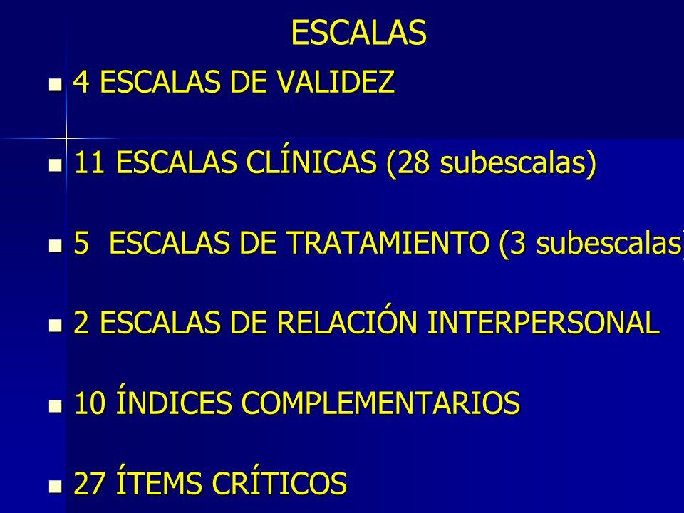 ESCALAS 4 ESCALAS DE VALIDEZ 4 ESCALAS DE VALIDEZ 11 ESCALAS CLÍNICAS (28 subescalas) 11 ESCALAS CLÍNICAS (28 subescalas) 5 ESCALAS DE TRATAMIENTO (3