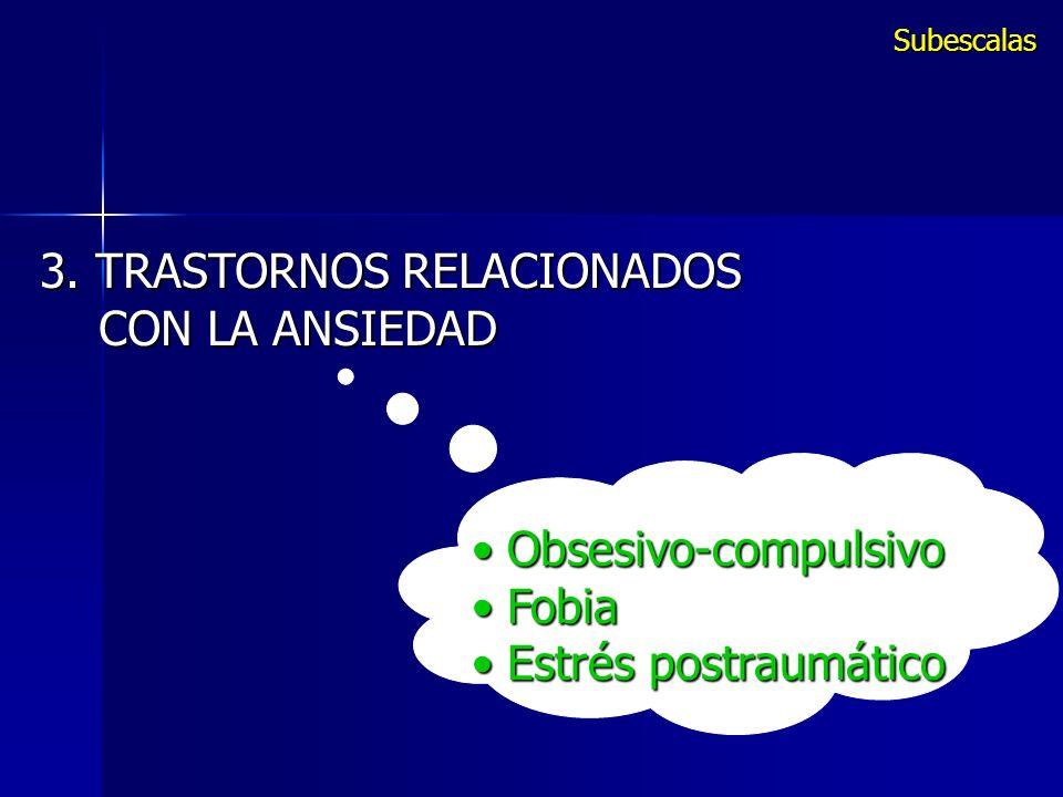 Obsesivo-compulsivo Obsesivo-compulsivo Fobia Fobia Estrés postraumático Estrés postraumático 3. TRASTORNOS RELACIONADOS CON LA ANSIEDAD CON LA ANSIED