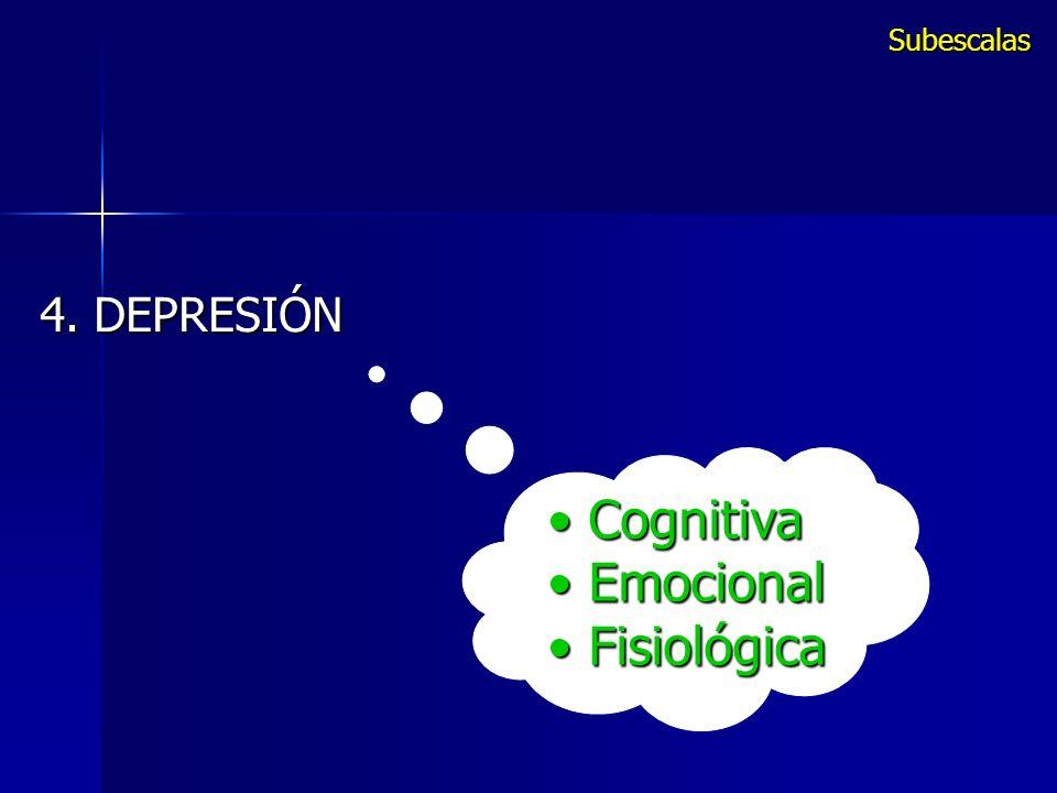 Cognitiva Cognitiva Emocional Emocional Fisiológica Fisiológica 4. DEPRESIÓN Subescalas