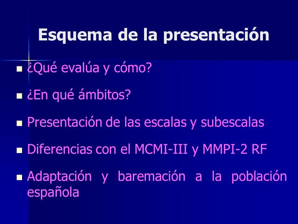 Esquema de la presentación ¿Qué evalúa y cómo? ¿En qué ámbitos? Presentación de las escalas y subescalas Diferencias con el MCMI-III y MMPI-2 RF Adapt