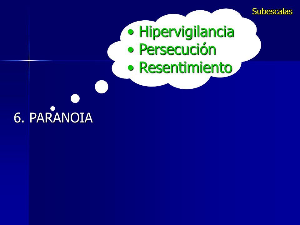 Hipervigilancia Hipervigilancia Persecución Persecución Resentimiento Resentimiento 6. PARANOIA Subescalas