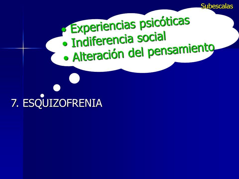 Experiencias psicóticas Experiencias psicóticas Indiferencia social Indiferencia social Alteración del pensamiento Alteración del pensamiento 7. ESQUI