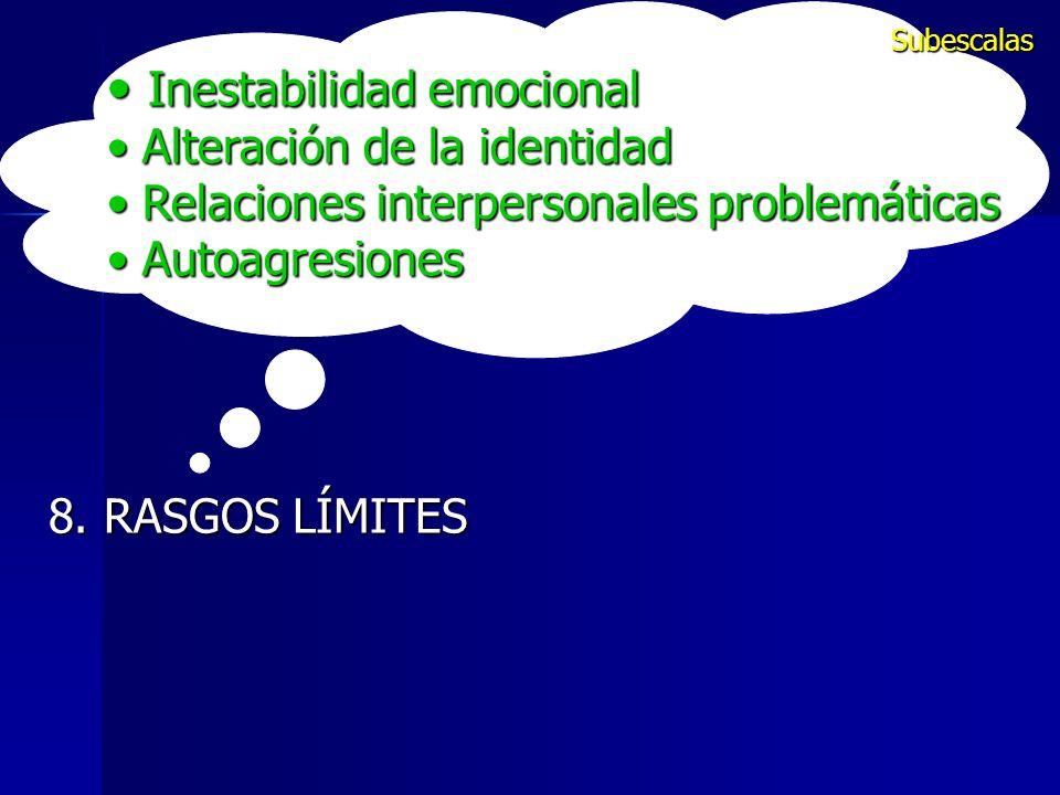Inestabilidad emocional Inestabilidad emocional Alteración de la identidad Alteración de la identidad Relaciones interpersonales problemáticas Relacio
