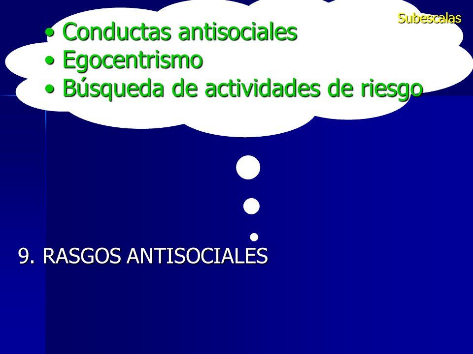 Conductas antisociales Conductas antisociales Egocentrismo Egocentrismo Búsqueda de actividades de riesgo Búsqueda de actividades de riesgo 9. RASGOS