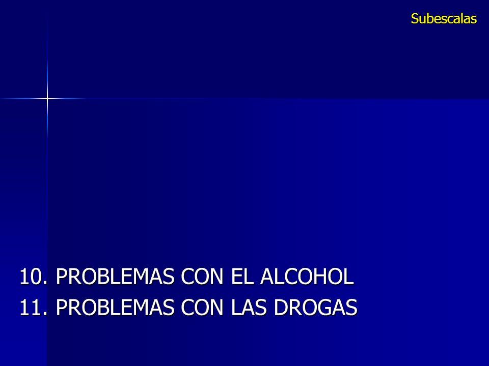 10. PROBLEMAS CON EL ALCOHOL 11. PROBLEMAS CON LAS DROGAS Subescalas