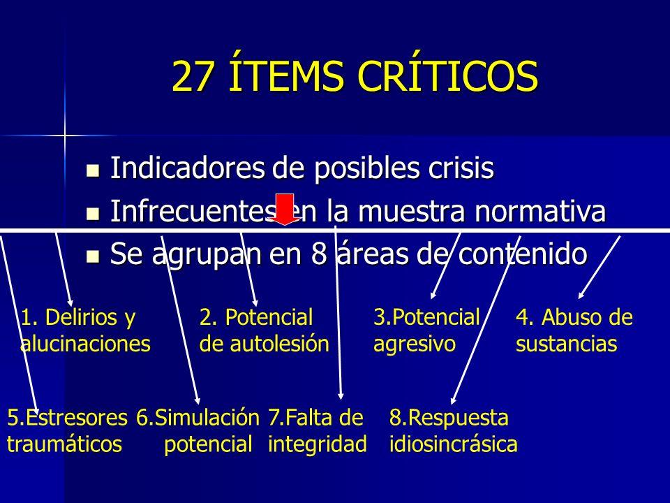 27 ÍTEMS CRÍTICOS Indicadores de posibles crisis Indicadores de posibles crisis Infrecuentes en la muestra normativa Infrecuentes en la muestra normat