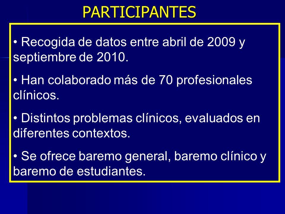 PARTICIPANTES PARTICIPANTES Recogida de datos entre abril de 2009 y septiembre de 2010. Han colaborado más de 70 profesionales clínicos. Distintos pro