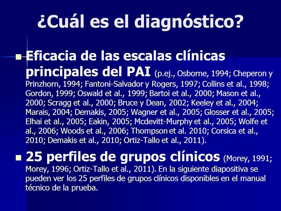 ¿Cuál es el diagnóstico? Eficacia de las escalas clínicas principales del PAI (p.ej., Osborne, 1994; Cheperon y Prinzhorn, 1994; Fantoni-Salvador y Ro
