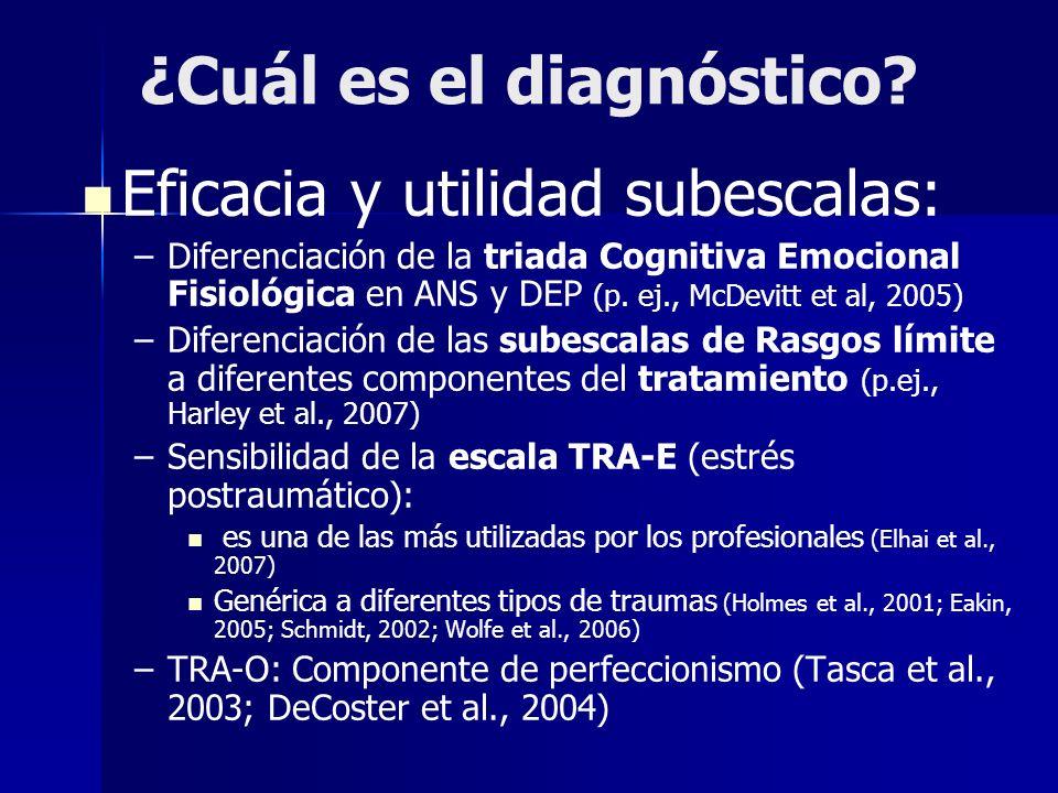¿Cuál es el diagnóstico? Eficacia y utilidad subescalas: – –Diferenciación de la triada Cognitiva Emocional Fisiológica en ANS y DEP (p. ej., McDevitt