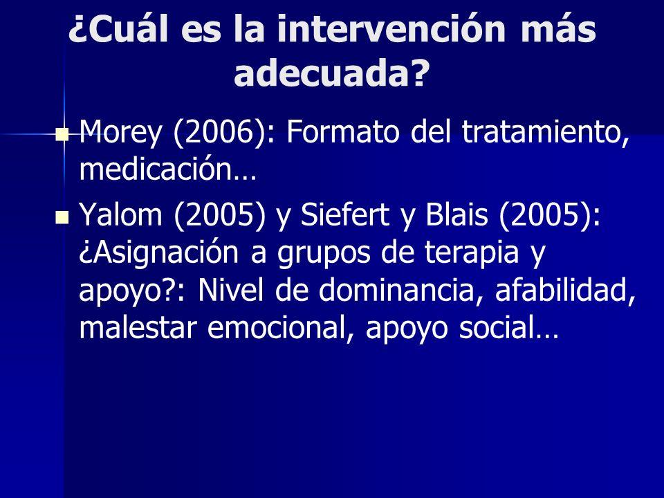 ¿Cuál es la intervención más adecuada? Morey (2006): Formato del tratamiento, medicación… Yalom (2005) y Siefert y Blais (2005): ¿Asignación a grupos