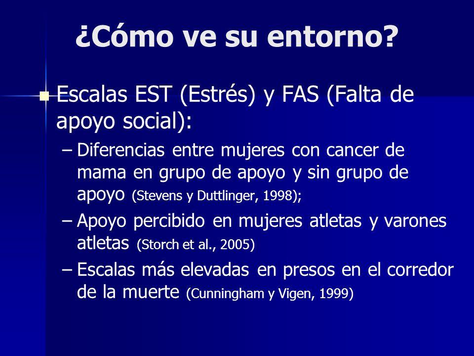 ¿Cómo ve su entorno? Escalas EST (Estrés) y FAS (Falta de apoyo social): – –Diferencias entre mujeres con cancer de mama en grupo de apoyo y sin grupo
