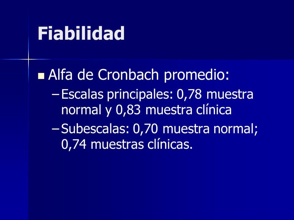 Fiabilidad Alfa de Cronbach promedio: – –Escalas principales: 0,78 muestra normal y 0,83 muestra clínica – –Subescalas: 0,70 muestra normal; 0,74 mues