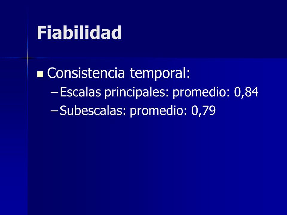 Fiabilidad Consistencia temporal: – –Escalas principales: promedio: 0,84 – –Subescalas: promedio: 0,79
