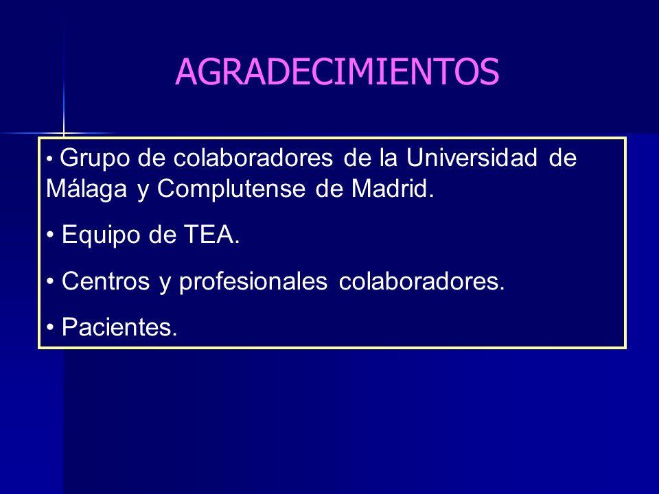 Grupo de colaboradores de la Universidad de Málaga y Complutense de Madrid. Equipo de TEA. Centros y profesionales colaboradores. Pacientes. AGRADECIM