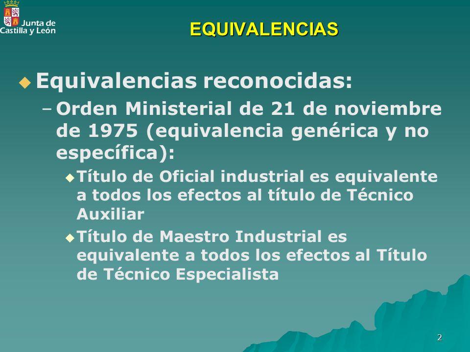 2 EQUIVALENCIAS Equivalencias reconocidas: – –Orden Ministerial de 21 de noviembre de 1975 (equivalencia genérica y no específica): Título de Oficial