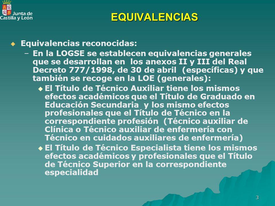 3 EQUIVALENCIAS Equivalencias reconocidas: – –En la LOGSE se establecen equivalencias generales que se desarrollan en los anexos II y III del Real Dec