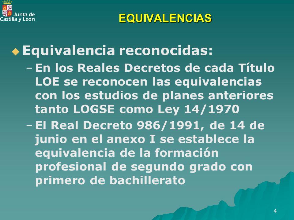 4 EQUIVALENCIAS Equivalencia reconocidas: – –En los Reales Decretos de cada Título LOE se reconocen las equivalencias con los estudios de planes anter