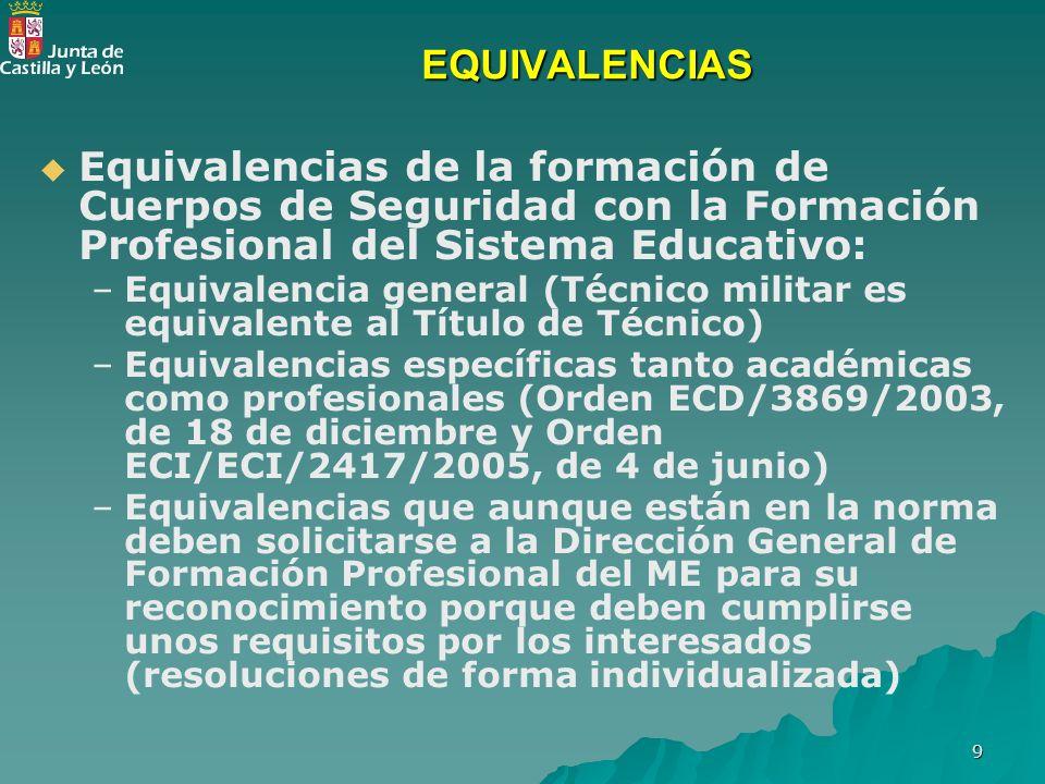 9 EQUIVALENCIAS Equivalencias de la formación de Cuerpos de Seguridad con la Formación Profesional del Sistema Educativo: – –Equivalencia general (Téc